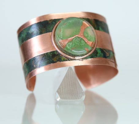 Cuff Bracelet of Copper and Recycled Glass
